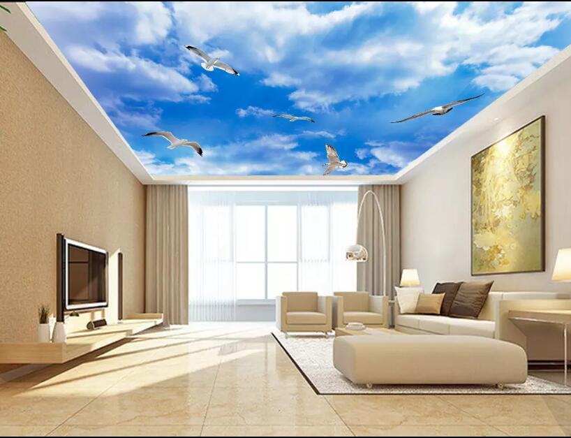 . US  30 0  Custom Any Size 3D Stereo blue Ceiling Murals Wallpaper Living  Room Wall Papers Home Decor Modern Wall Painting cloud ceilings in  Wallpapers