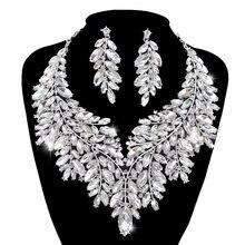 Женский комплект свадебных украшений серебряное ожерелье стразы