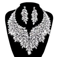Luxo dubai estilo conjuntos de jóias casamento strass cristal statement nupcial prata cor colar conjunto presente natal para a senhora