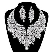 Luxuriöse Dubai stil Hochzeit Schmuck Sets Strass Kristall Erklärung Braut silber farbe Halskette Set Weihnachten Geschenk für dame