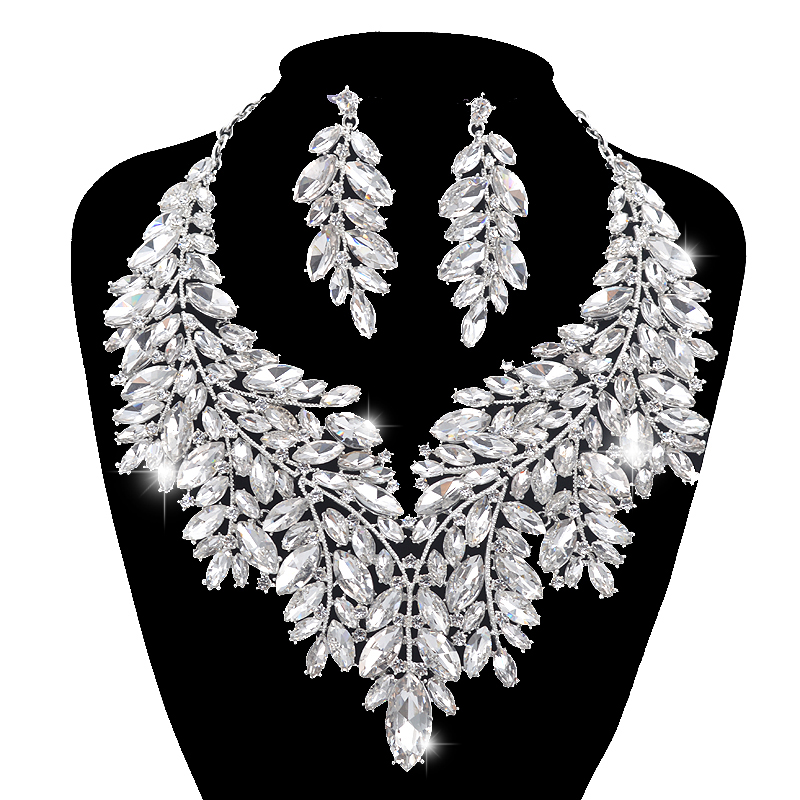 Luxurious Dubai style Wedding Jewelry Sets Rhinestone