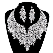 Luxurious Dubai style Wedding Jewelry Sets Rhinestone Crystal Statement Bridal silver Necklace Sets Christmas Gift for women(China)