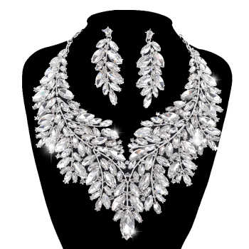 Luxurious Dubai style Wedding Jewelry Sets Rhinestone Crystal Statement Bridal silver Necklace Sets Christmas Gift for women - DISCOUNT ITEM  20% OFF All Category