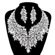 Luxurious Dubai style Wedding Jewelry Sets Rhinestone Crystal Statement Bridal silver color Necklace Set Christmas Gift for lady