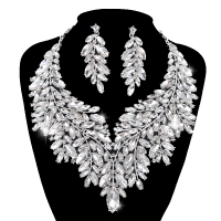 Luxurious Dubai style Wedding Jewelry Sets Rhinestone Crystal Statement Bridal silver Necklace Sets Christmas Gift for women