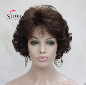 Image 2 - Short Curly Dark Auburn Synthetic Hair Full wig Womens Thick Wigs For Everyday
