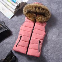 Новый для зимних меховой воротник жилет Шутник хлопка с капюшоном жилет женщин платья жилет