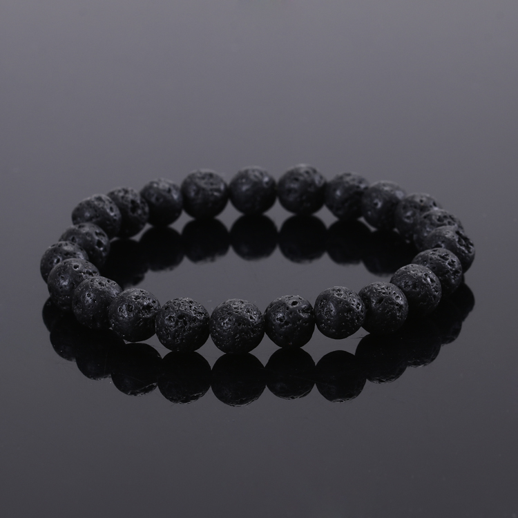 2015 Fashion Jewelry <font><b>Men</b></font> <font><b>bracelet</b></font> Black Lava Energy Stone <font><b>Beads</b></font> Buddha <font><b>Bracelet</b></font> for Women Christmas gift image