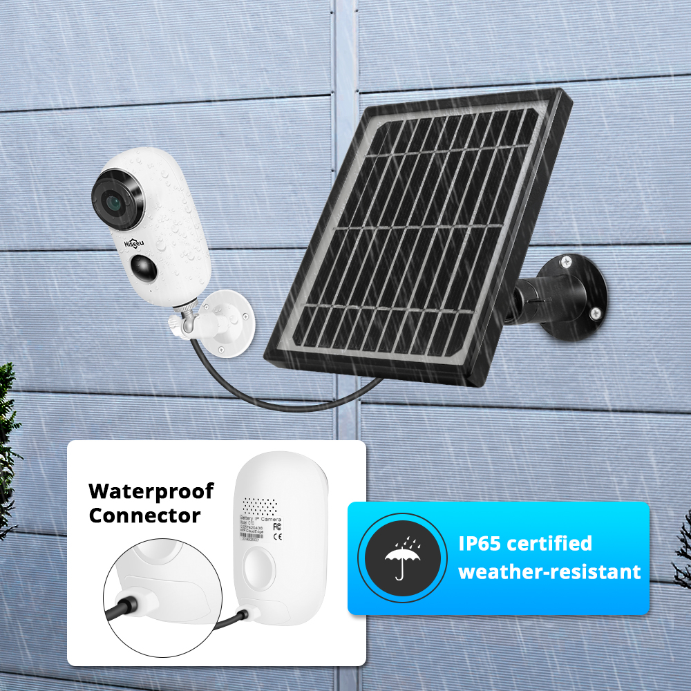 1080P Wifi Batterie IP Kamera Outdoor Solar Panel Drahtlose Wiederaufladbare Kamera Wasserdicht PIR Alarm Hiseeu