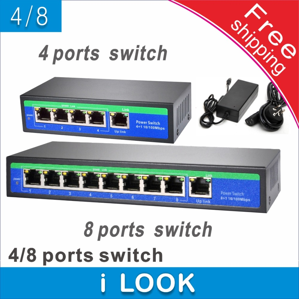 bilder für Mit 4-port Poe-switch 4 + 1 Port 8-port PoE-switch 8 + 1 Port Fast Ethernet Switch netzwerkkameras versorgt POE21004P POE21008P