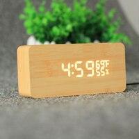 USB AAA Powered Sound Voice Control Light Digital LED Time Temperature Humidity Display Alarm Clock Wood