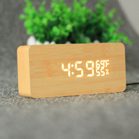USB AAA Powered Sound Voice Control Light Digital LED Time Temperature Humidity Display Alarm Clock Wood