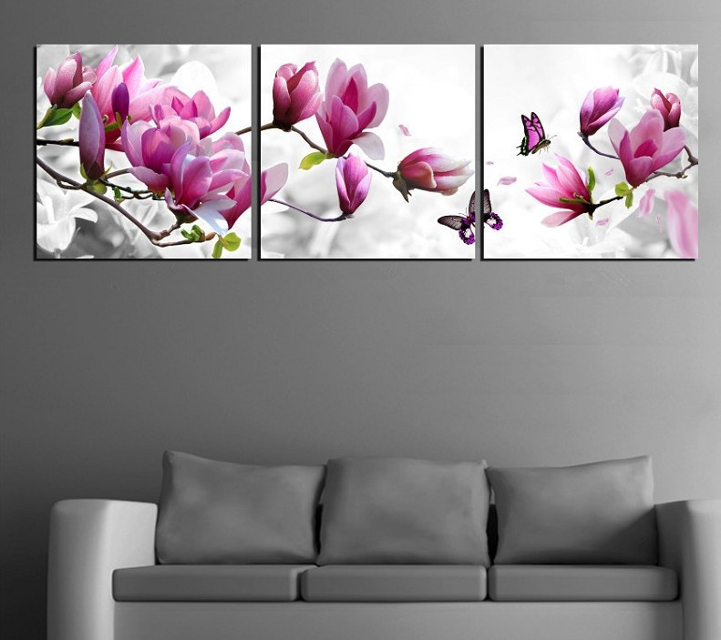 Luxury Elegant Canvas Painting Wall Pictures 3 Panel Art Such Beauty Flower Canwas Home Decor Modern Prints