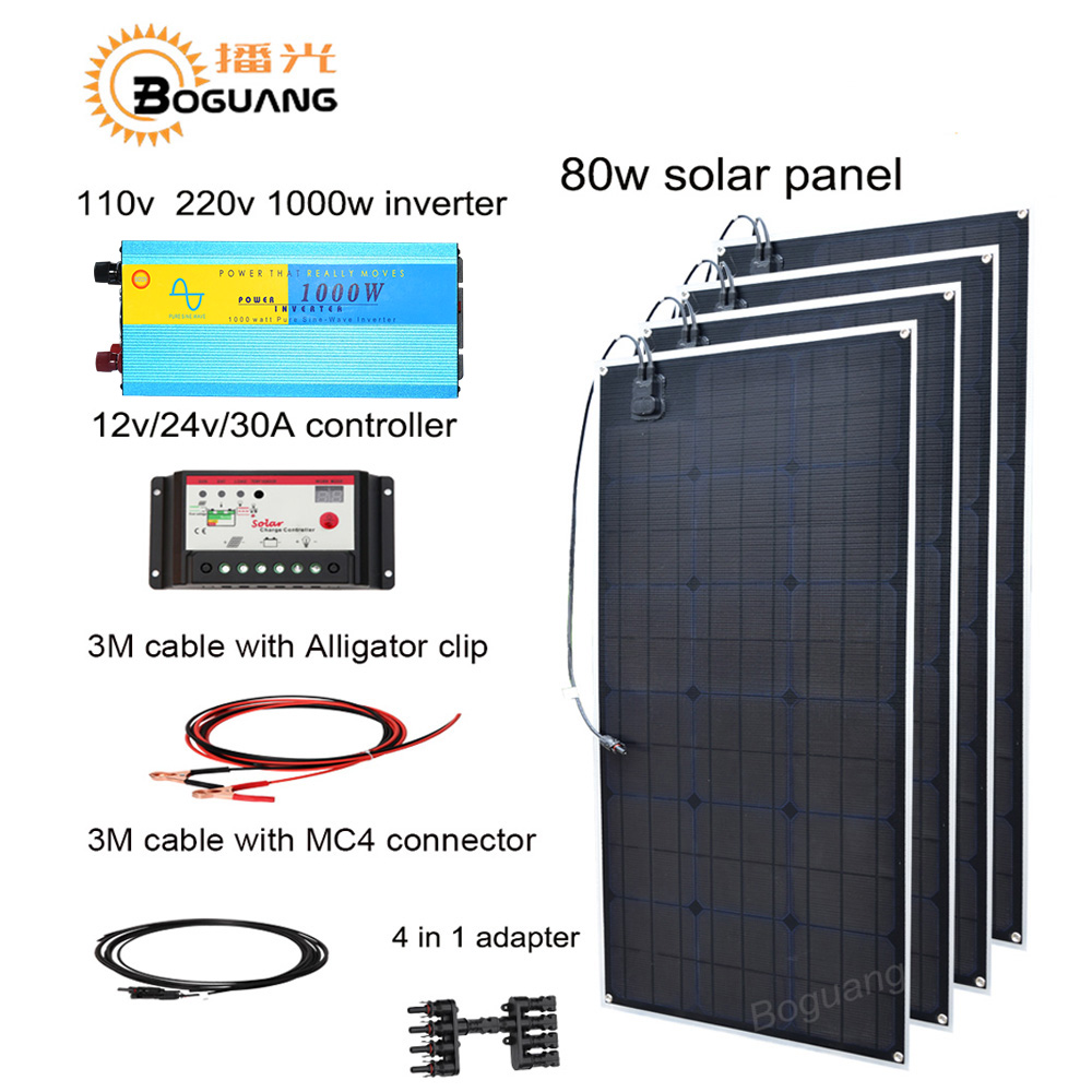 Boguang 320w solar DIY kit system 80w solar panel Solar cell MC4 connector 110v 220v 1000w inverter 30A controller 12v battery boguang 300w solar panel 3 100w 30a controller 110v 220v 500w power inverter off grid 12 volt battery system 300 watt