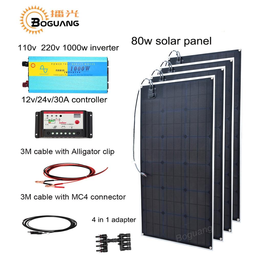 Boguang 320w solar DIY kit system 80w solar panel Solar cell MC4 connector 110v 220v 1000w inverter 30A controller 12v battery h 001 solar battery cell component waterproof mc4 connector black 2 pcs