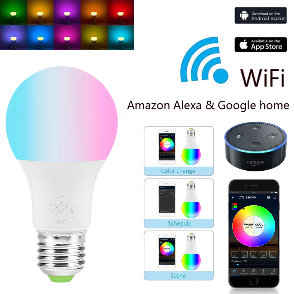 E27 Wifi Smart Light Bulb Dimmable Multicolor Wake Up