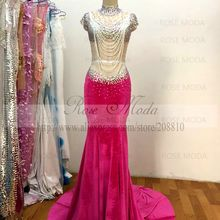 Rose Moda Real Photo Velour Bling Pink Evening Dress