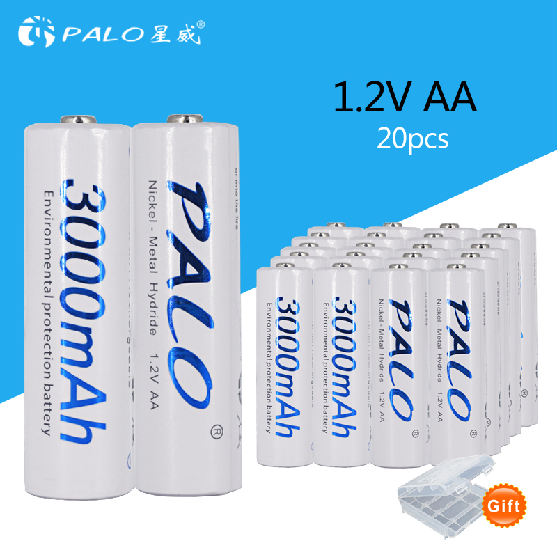 PALO 20 pcs 3000mAh 1.2v AA Ni-MH rechargeable battery 20x 2A Pre-charged Bateri for camera MP3 mp4 microphone placement battery new 1pc aa 3000mah 1 2v rechargeable battery nimh tip head batteries baterias bateria for flashlight torch camera mp3 mp4