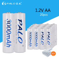 PALO 20 pcs 3000mAh 1.2v AA Ni MH rechargeable battery 20x 2A Pre charged Bateri for camera MP3 mp4 microphone placement battery