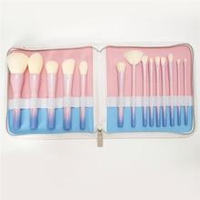 Фотография 2017 Gradient Color Professional Makeup Brushes VDL pantone+mydestiny pro 14pcs Makeup Brush Set with Leather Bag