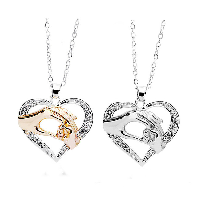 Gold silver crystal inlay heart charms mother and child pendant gold silver crystal inlay heart charms mother and child pendant necklace golden hand heart jewelry for aloadofball Image collections