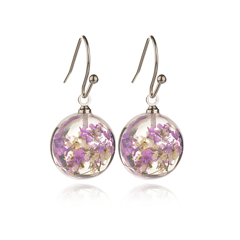 Misscycy Earrings for Flowers Vintage Women Glass 4-Colors Gifts Round Handmade Natural