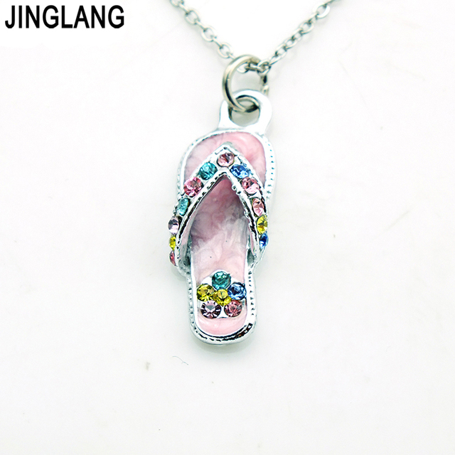Jinglang new design best selling high quality fashion small colorful jinglang new design best selling high quality fashion small colorful slipper pendant necklace with colorful crystal aloadofball Image collections