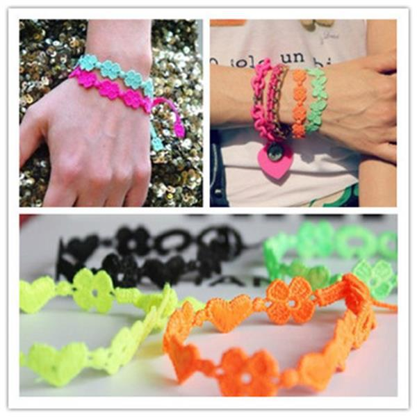 (Min order $7) 12pcs/bag randomly mix colors Jewelry Italy Lace Macrame Bracelet 19 different shapes for women to choose !