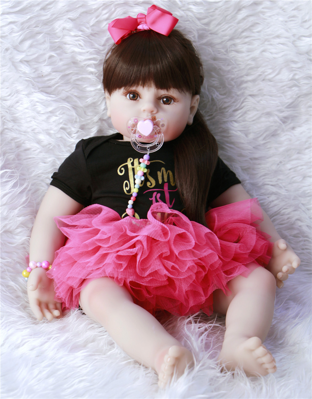 23inch 58cm Silicone Reborn Baby Doll Toys Like Real Vinyl Princess Toddler Babies lol Dolls Bonecas Birthday Gift Presents