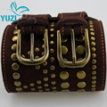 2015Spring New Yuzi Vintage Women Belt Double Buckles Genuine Leather Rivet Cowskin Belts G09592 cinturones Apparel Accessories