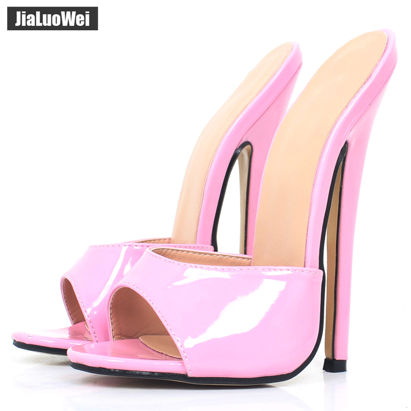 купить 2018 Summer Women Sexy PU Leather High Heels shoes Ladies Black party Shoes Sexy Peep Toe Summer/Spring Sandals Slippers по цене 3977.85 рублей