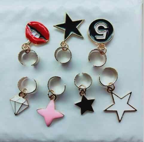 ED 014 1 pieza 2018 nuevos labios de llama de moda de publicidad amor estrella de cinco puntas triángulo forma de concha de mar no pendientes de joyería