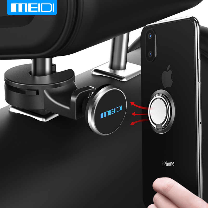 MEIDI รถผู้ถือโทรศัพท์แม่เหล็กสำหรับด้านหลัง Headrest แท็บเล็ตสนับสนุน Combo ผู้ถือแหวนนิ้วมือยืนสำหรับ iPhone X 8