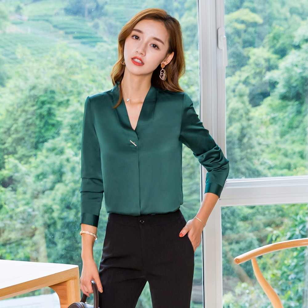 71f99158f5e3bd ... plus size 4XL Women silk satin blouse long sleeve ladies office work shirts  elegant women silk ...