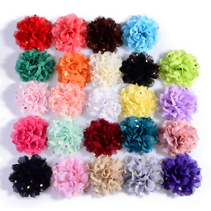 120PCS 10cm 24colors Big Chiffon Headband Flower Hair Clips Hairpins Fabric Flowers with Gold Dot for