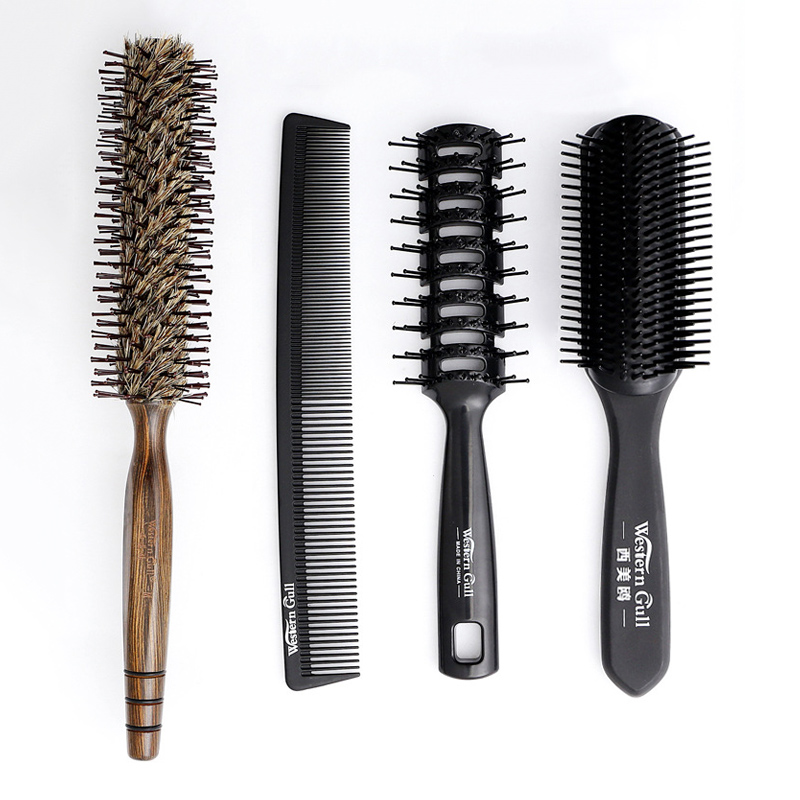 4in1 Hair Styling Brush Set Professional Salon Anti Static Hairdressing Hairbrush Barber Tool Comb Kit for All Hairstyles
