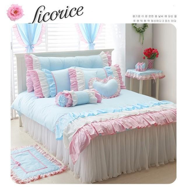 Fresh Blue 4pcs Bedding Set Korean 3pcs Bed Set For Girl Bedskirt Type  Ruffle Bed Linen