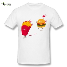 Novelty Cartoon Hamburger And Chips T Shirt Round Neck Design For Man T-Shirt Wholesale