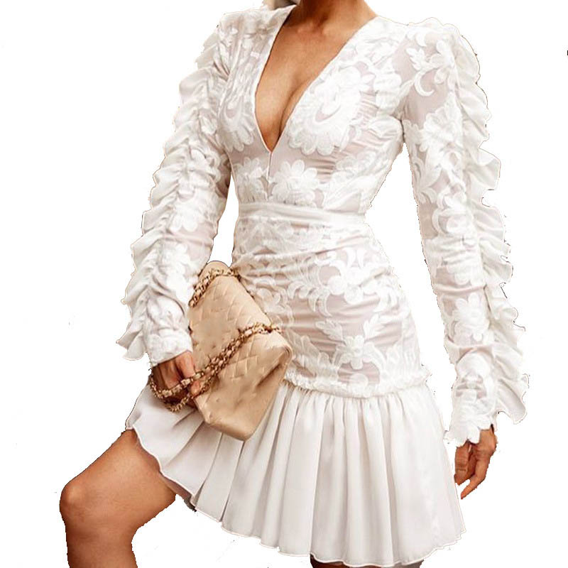 Summer Women Sexy White Mini Dress Long Sleeve Embroidery Lace Dress Boho Party Ruffle Dress in Dresses from Women 39 s Clothing