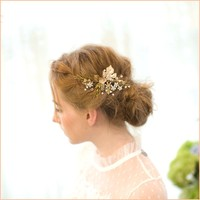 Handmade Gold Leaf Wedding Headpiece Bridal Hair Clip Comb Floral Accessories Vintage Women Clips Jewelry