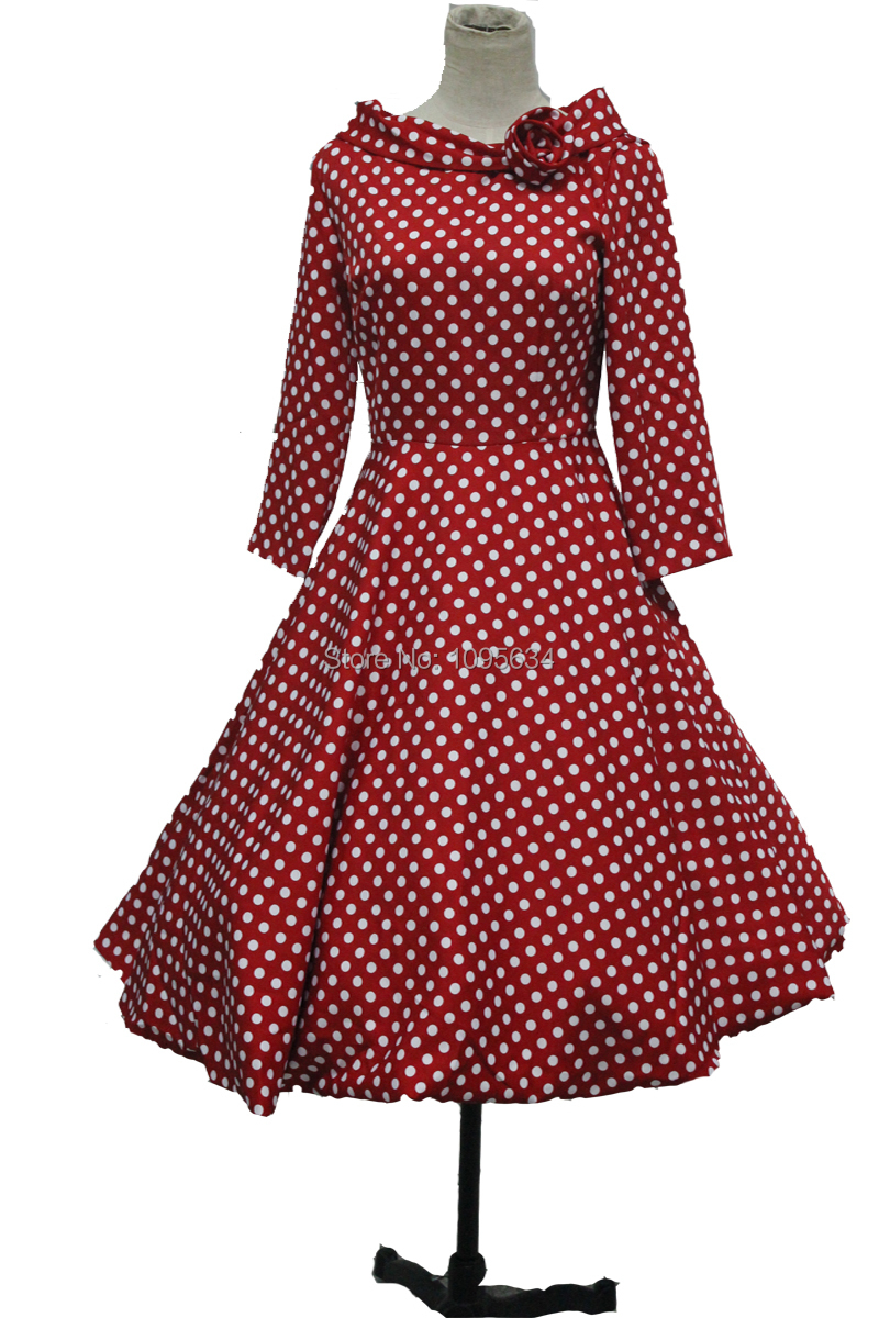 Free Shipping Ladies Fashion Plus Size Long Sleeve Polka Dot 1950s