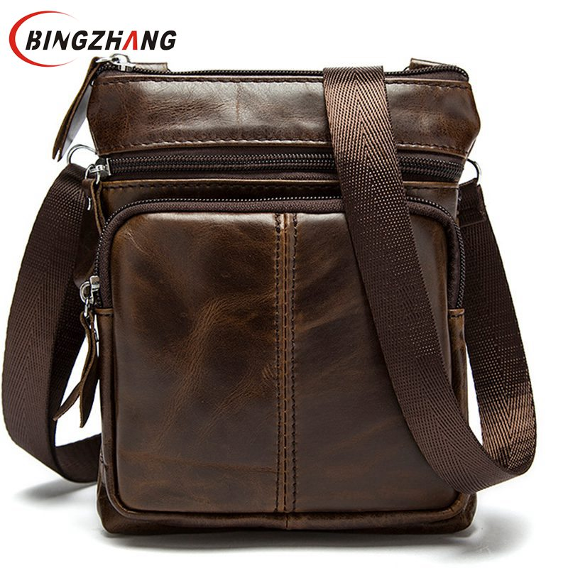 New Casual Leather Men Bag Small Coin Purse Shoulder Bag Vintage Design Zipper Style Messenger Bags Handbags for Men L4-2440
