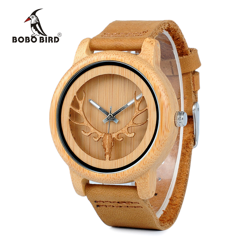 BOBO BIRD CA27 Hollow Deer Head Bamboo Wood Casual Watches for Men Women Ladies Leather Strap Quartz Watch free shipping bamboo wood watches for men and women fashion casual leather strap wrist watch male relogio
