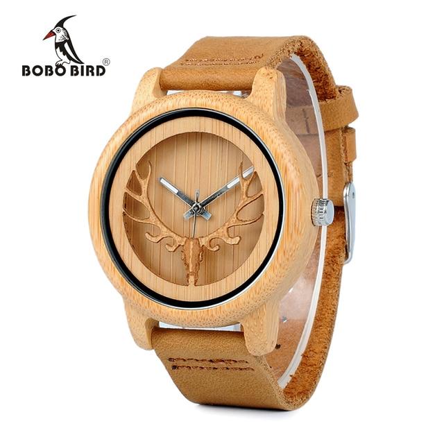 BOBO BIRD CA27 Hollow Deer Head Bamboo Wood Casual Watches for Men Women Ladies