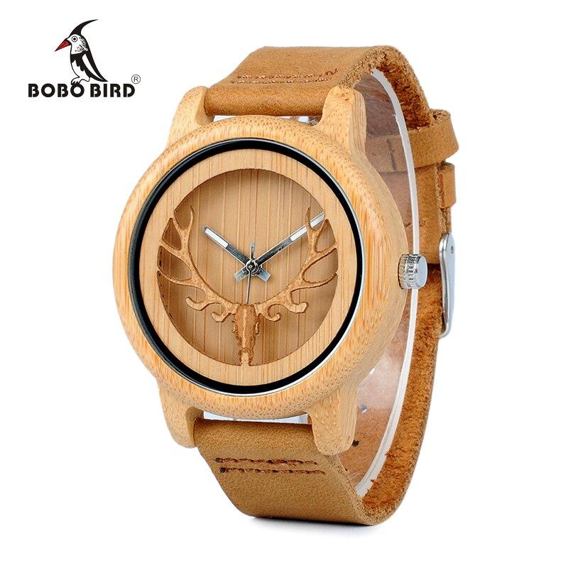 BOBO BIRD CA27 creux tête de cerf bambou bois décontracté montres pour hommes femmes dames bracelet en cuir montre à Quartz livraison gratuite