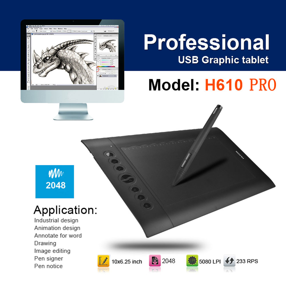 """Huion H610 10/""""x6/"""" Art Graphics Drawing Pen Tablet With Pen for Windows Mac OS"""