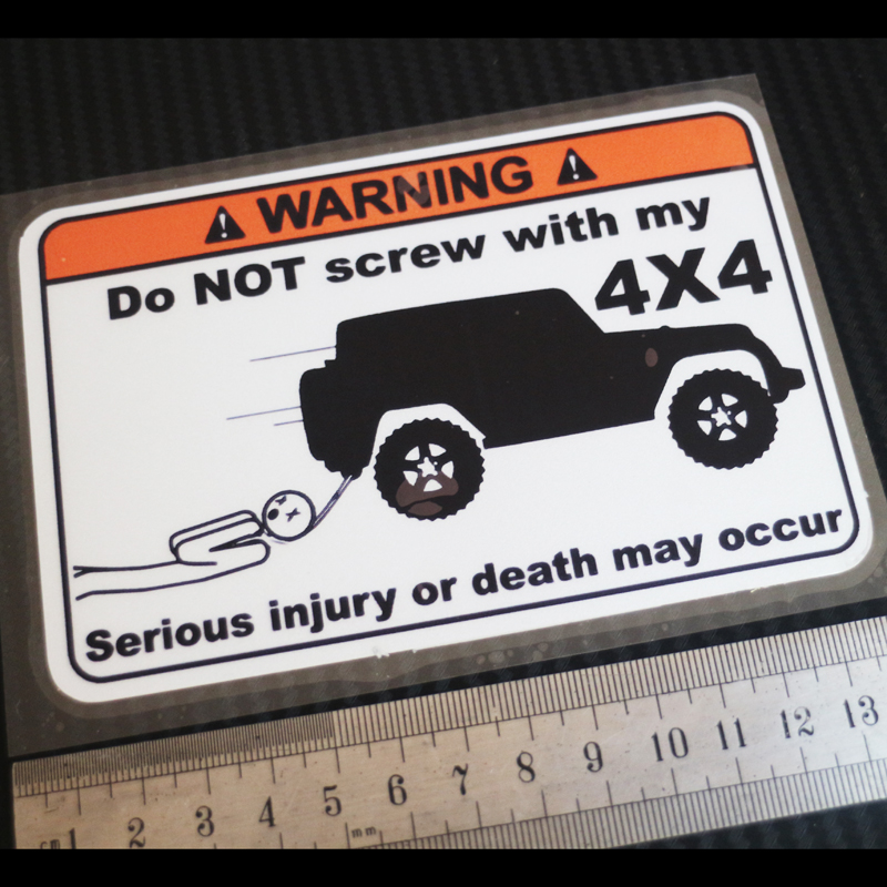 1PCS moto car Styling Decals For DO NoT screw with my 4x4 Reflective stickers