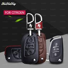 цена на Leather Car Key Case Shell Cover For Citroen C2 C3 C4 C5 C4L DS3 DS4 DS5 DS6 Flip Remote Car Key Case Protector Car-Styling