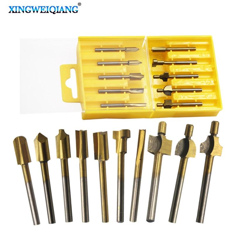 """10pcs 1/8"""" HSS Wood Router Bits Files Titanium Coated Mini 3mm Wood Cutter Milling Fits Dremel Rotary Set Carpenter Tool"""