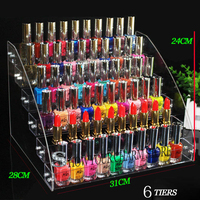 New 4 7 Tiers Acrylic Clear Cosmetic Varnish Display Stand Rack Holder Removable Nail Polish shelves Women Makeup Organizer Case